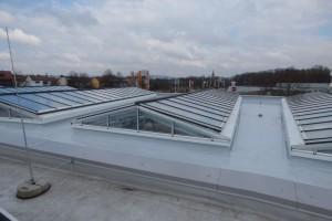 Dach mit Dachabdichtungsbahnen abgedichtet