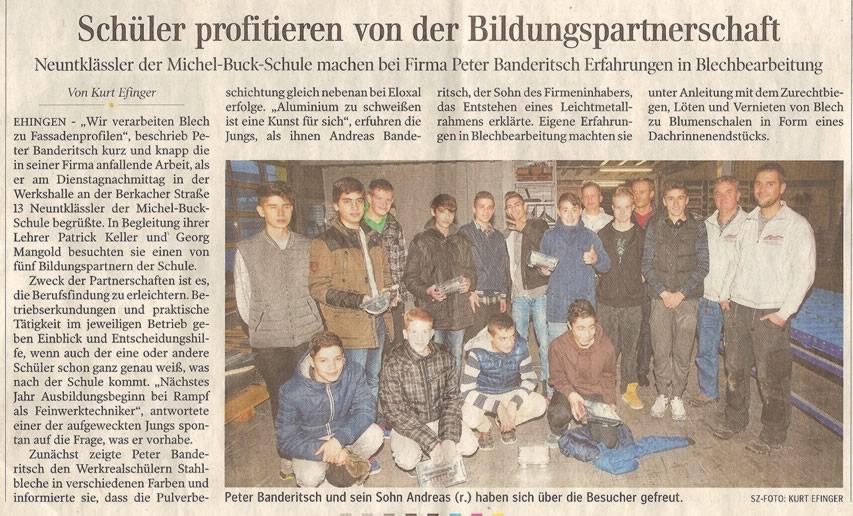 Zeitungsartikel Banderitsch stellt Beruf in Schule vor