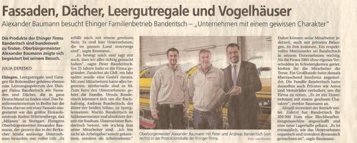 Zeitungsartikel, Oberbürgermeister alexander Baumann besucht Familienbetrieb