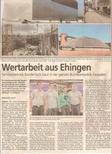 Zeitungsartikel Familienbetrieb baut in der ganzen Bundesrepublik Fassaden